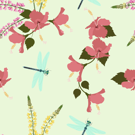 Seamless vector illustration with hibiscus flowers, lupine and dragonflies. For decorating textiles, packaging, covers.