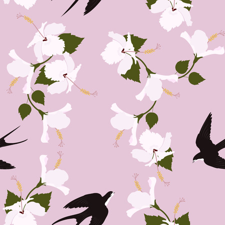Seamless vector illustration with hibiscus flowers and swallows . For decorating textiles, packaging, covers. Ilustracja