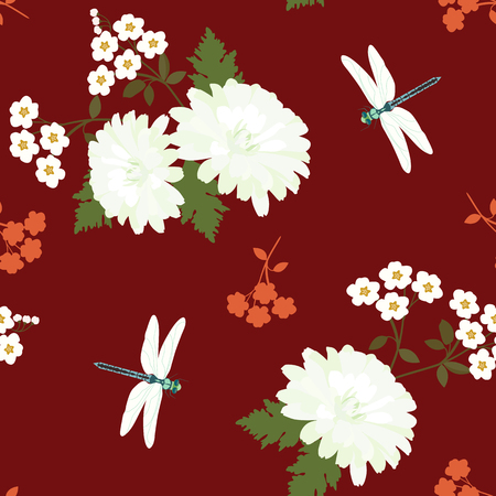 Seamless vector illustration with white chrysanthemums and dragonflies on a dark red background. For decorating textiles, packaging, web design.