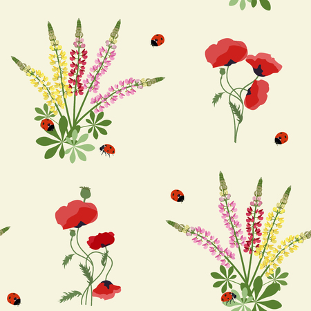 Beautiful seamless vector floral summer pattern background with ladybird, lupine flowers and poppy. Perfect for wallpapers, web page backgrounds, surface textures, textile.