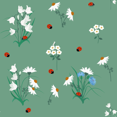 Seamless pattern of campanula flowers, chamomile , cornflowers and ladybug on green background. Vintage style. Vector stock.