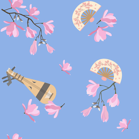 Seamless vector illustration with magnolia flowers, antique Japanese biva musical instrument. For decorating textiles, packaging, web design.