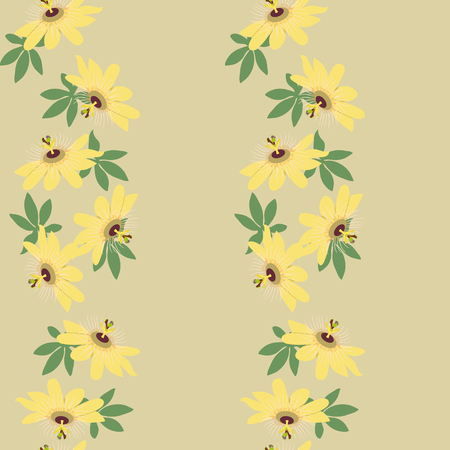 Seamless vector illustration with tropical flowers Passiflora on a beige background. For decorating textiles, packaging, wallpaper. Vertical. Archivio Fotografico - 124987225