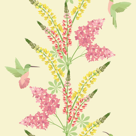 Seamless vector illustration with lilac, lupine flowers and hummingbirds on a yellow background . For decorating textiles, packaging, covers, wallpaper.