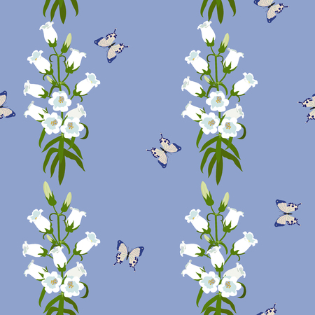 Seamless vector illustration with butterflies and campanula on a blue background. For decorating textiles, packaging, web design.