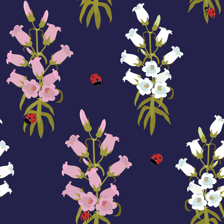 Seamless vector illustration with ladybug and campanula on a dark blue background. For decorating textiles, packaging, web design. Stock Illustratie