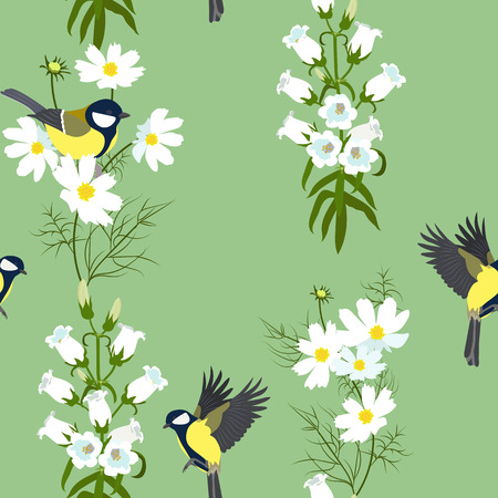 Seamless vector illustration with titmouse and campanula on a green background. For decorating textiles, packaging, web design. Stock Illustratie
