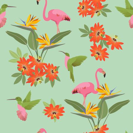 Illustration vectorielle continue avec des fleurs tropicales Passiflora, colibri et flamant rose. Pour la décoration de textiles, emballages, papiers peints.