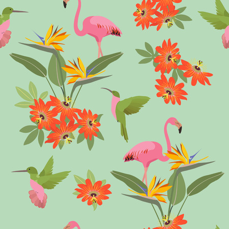 Seamless vector illustration with tropical flowers Passiflora, hummingbird and flamingo. For decorating textiles, packaging, wallpaper. Illustration