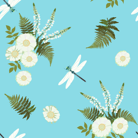 Seamless vector illustration with daisy, lupine flowers and dragonflies on a blue background . For decorating textiles, packaging, covers, wallpaper.
