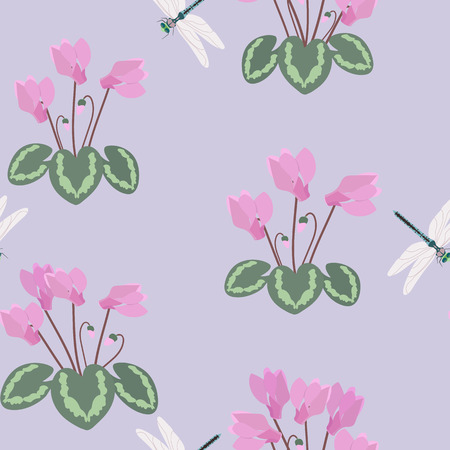 Seamless vector illustration with cyclamens and dragonflies on a lilac background. For decorating textiles, packaging, web design.
