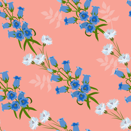 Seamless vector illustration with cornflowers and campanula on a pink background. For decorating textiles, packaging, web design.