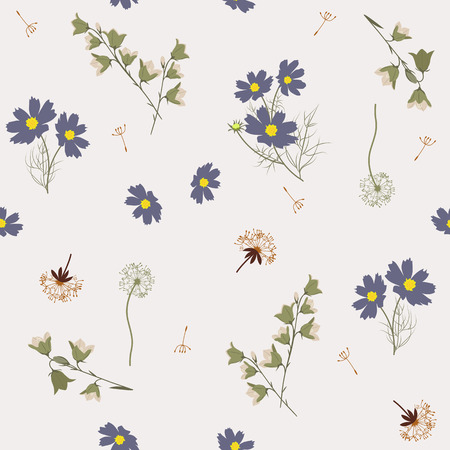 Seamless vector illustration with wildflowers in pastel colors. For decorating textiles, packaging, web design.