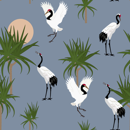 Seamless vector illustration with Japanese cranes and dracaena on a dark background. For decorating textiles, packaging, wallpaper.