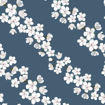 暗い背景に咲くリンゴの木とシームレスな風車のイラスト。織物、包装、ウェブデザインを飾るために。  イラスト・ベクター素材