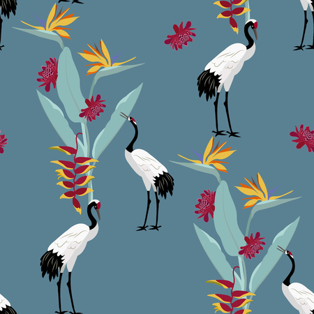 Seamless vector illustration with birds cranes and exotic flowers on a dark blue background. For decorating textiles, packaging, web design. Illustration