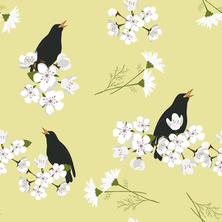 Seamless vector illustration with a blooming apple and bird nightingale. For decoration of textiles, packaging, wallpaper.