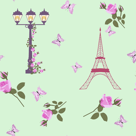 Vector Eiffel Tower Paris and Roses Flowers Seamless Repeat Pattern Surrounded By St Valentines Day Hearts Of Love. Perfect for travel themed postcards, greeting cards, wedding invitations.