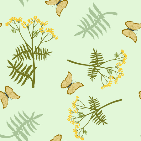 Seamless vector illustration with tansy flowers and butterflies on a light green background. For decorating textiles, packaging, web design. Standard-Bild - 124506291