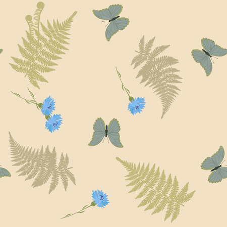 Seamless vector illustration with cornflowers,fern leaves and butterflies on a beige background. For decorating textiles, packaging, web design. 向量圖像