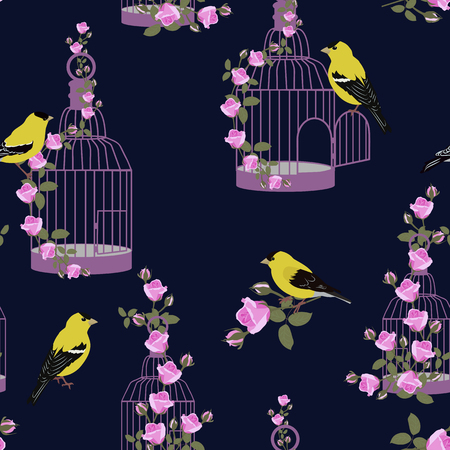 Seamless vector illustration with birds, cages and roses on a dark background. For decorating textiles, packaging, web design.