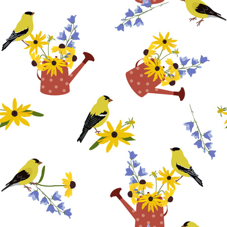 Seamless vector illustration with garden watering cans, flowers and birds on a white background. For decoration of textiles, packaging, wallpaper. Ilustracje wektorowe