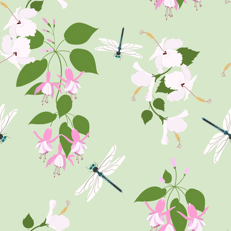 Seamless vector illustration with hibiscus flowers, fuchsia and dragonflies on a green background. For decorating textiles, packaging, wallpaper.