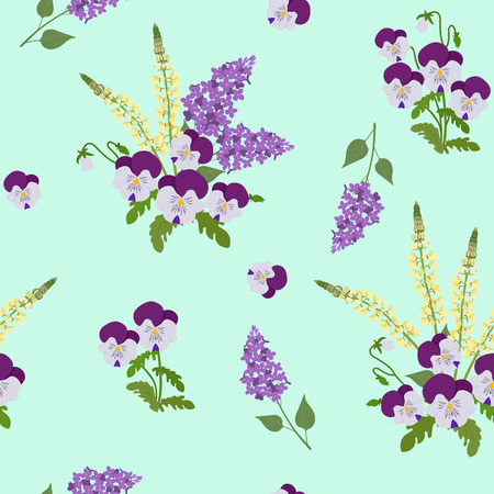 Seamless vector illustration with pansies, lupines and lilac. For decorating textiles, packaging, web design.
