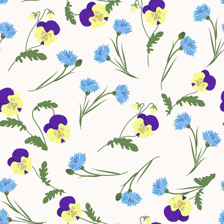 Seamless vector illustration with pansies and cornflowers. For decorating textiles, packaging, web design. Ilustrace