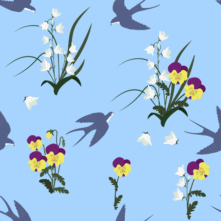 Seamless vector illustration with pansies, campanulas and swallows on a blue background. For decorating textiles, packaging, web design. Vettoriali