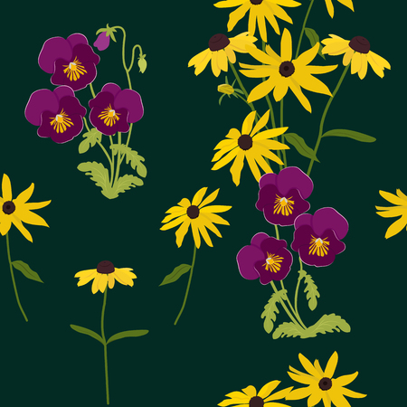 Seamless vector illustration with pansies and chamomile on a dark background. For decorating textiles, packaging, web design. Vettoriali