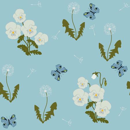 Illustrazione vettoriale senza soluzione di continuità con viole del pensiero, dente di leone e farfalla su sfondo blu. Per decorare tessuti, packaging, web design. Vettoriali