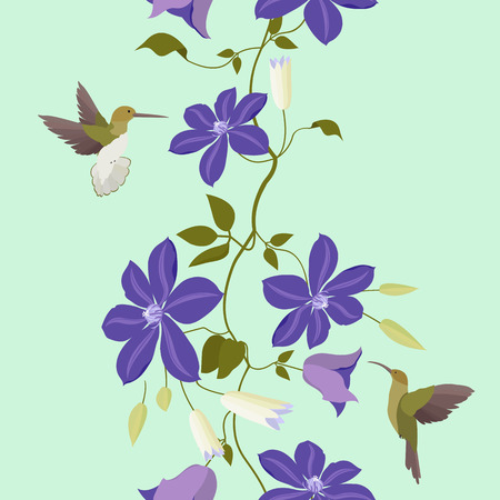 Seamless vector illustration with colors of clematis and hummingbirds. For decorating textiles, packaging and wallpaper. Vertical. Ilustrace