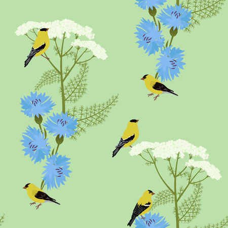 Seamless vector illustration with wildflowers and birds on a green background. For decorating textiles, packaging and wallpaper.