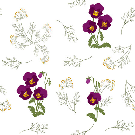Illustrazione vettoriale senza soluzione di continuità con viole del pensiero su sfondo bianco. Per decorare tessuti, packaging, web design.