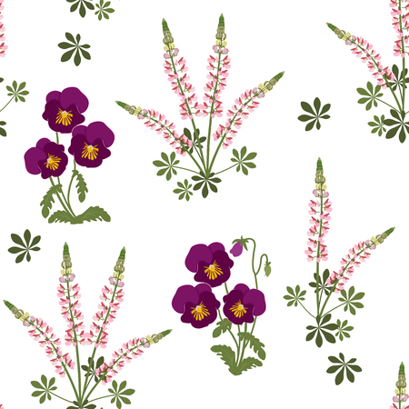 Seamless vector illustration with pansies and lupine on a white background. For decorating textiles, packaging, web design. Vettoriali