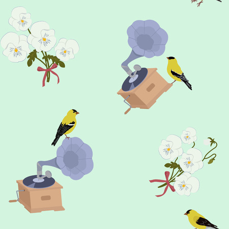 Seamless vector illustration with gramophone, birds and flowers. For decorating textiles, packaging, web design.