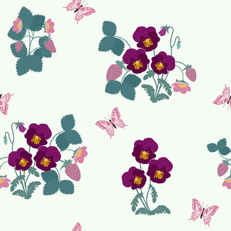Seamless vector illustration with pansies, strawberry and butterflies. For decorating textiles, packaging, web design.