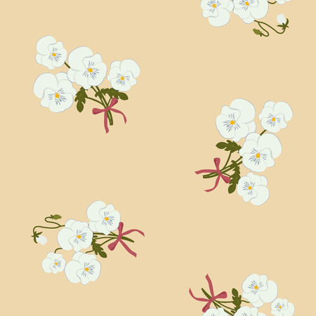 Seamless vector illustration with bouquet pansies on a beige background. For decorating textiles, packaging, web design. Vettoriali