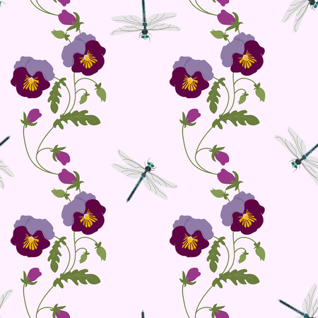 Seamless vector illustration with pansies and dragonflies. For decorating textiles, packaging, web design.