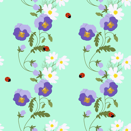 Seamless vector illustration with pansies and ladybird. For decorating textiles, packaging, web design. Vettoriali