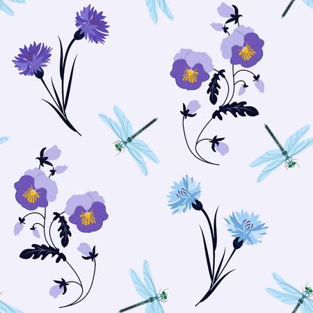 Illustrazione vettoriale senza soluzione di continuità con viole del pensiero, fiordalisi e libellule. Per decorare tessuti, packaging, web design.