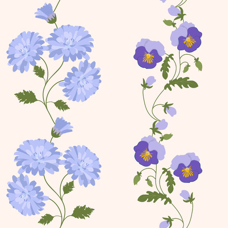 Seamless vector illustration with pansies and chrysanthemum. For decorating textiles, packaging, web design.