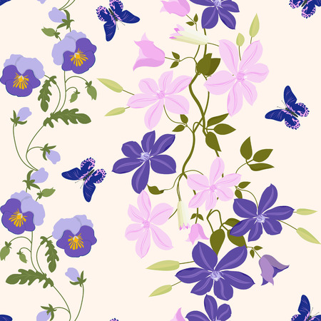 Seamless vector illustration with pansies, clematis and butterflies on a beige background. For decorating textiles, packaging, web design.
