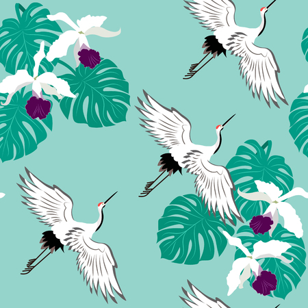 Seamless vector illustration with birds cranes, monstera and orchid. For decorating textiles, packaging, web design.