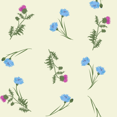Seamless vector illustration with thistle and cornflowers on a beige background. For decorating textiles, packaging, web design.