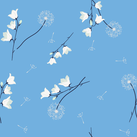 Seamless vector illustration with dandelion and campanula on a blue background. For decorating textiles, packaging, web design.