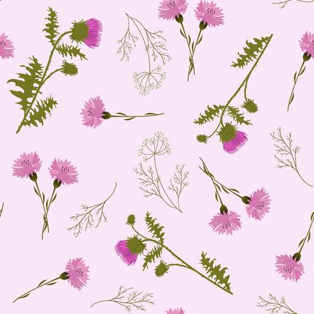 Illustrazione vettoriale senza soluzione di continuità con cardo e fiordalisi su sfondo rosa. Per decorare tessuti, packaging, web design. Vettoriali