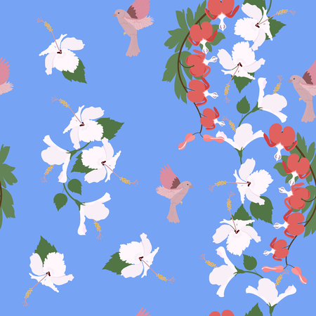 Seamless vector illustration with hibiscus flowers and birds on a blue background . For decorating textiles, packaging, covers.