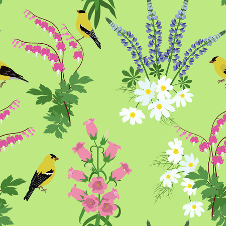 Seamless vector illustration with beautiful wildflowers and birds on green background. For decoration of textiles, packaging, web design.